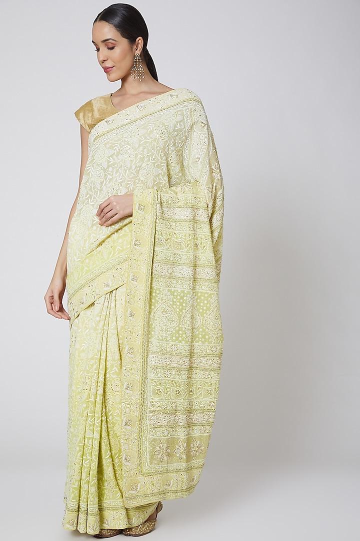 Yellow Chikankari Embroidered Saree Set by Anshikaa Jain