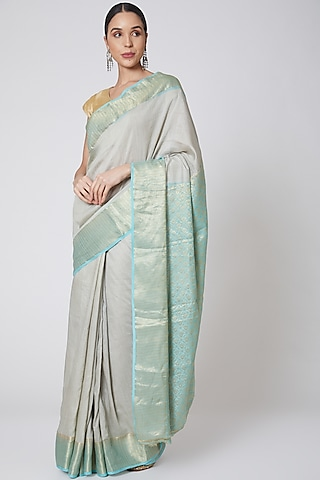 Turquoise & Grey Embroidered Saree Set by Anshikaa Jain