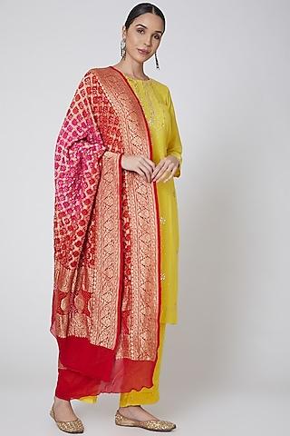 Yellow & Red Embroidered Kurta Set by Anshikaa Jain