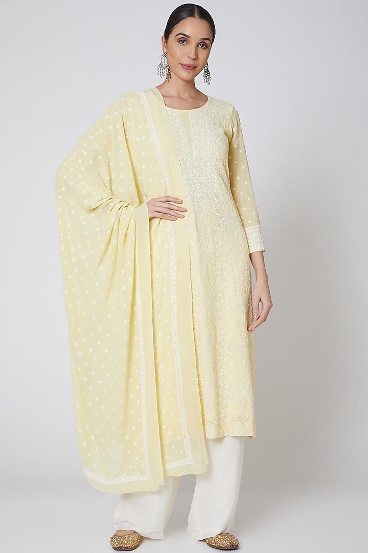 Yellow & White Embroidered Kurta Set by Anshikaa Jain