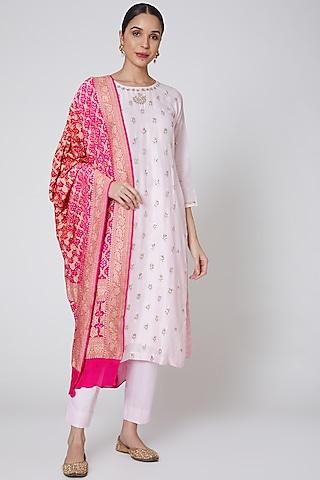 Blush Pink & Hot Pink Embroidered Kurta Set by Anshikaa Jain