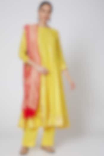 Yellow & Red Embroidered Anarkali Set by Anshikaa Jain