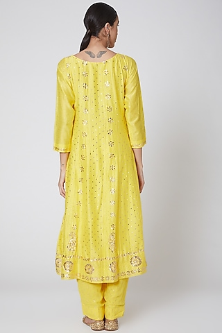 Yellow & Red Embroidered Anarkali Set by Anshikaa Jain