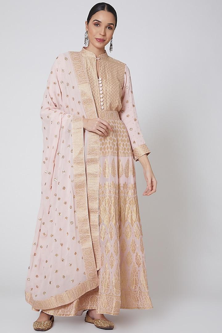 Copper Embroidered Anarkali Set by Anshikaa Jain