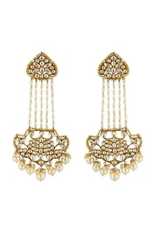 Gold Finish Kundan & Pearl Earrings by Anjali Jain