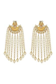 Gold Finish Pearl Chandelier Earrings by Anjali Jain