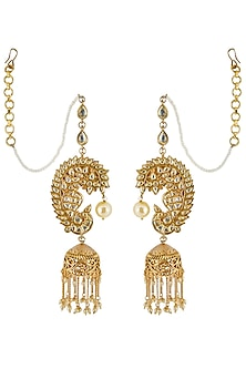 Gold Finish Kan Chain Jhumka Earrings by Anjali Jain