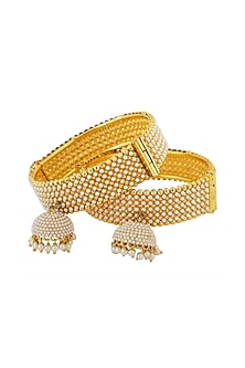 Gold Finish Pearl Bangles by Anjali Jain-JEWELLERY ON DISCOUNT