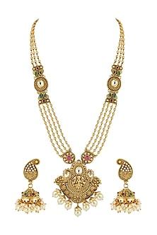 Gold Finish Long Temple Necklace Set by Anjali Jain