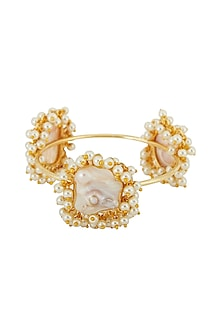 Gold Finish Pearl & Stone Bangle by Anjali Jain-POPULAR PRODUCTS AT STORE