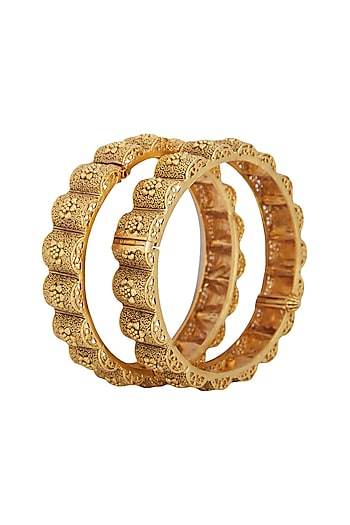 Gold Plated Carved Bangles by Anjali Jain