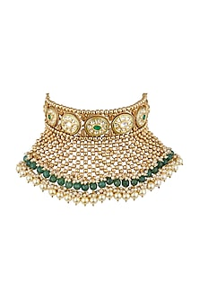 Gold Finish Kundan Bridal Necklace by Anjali Jain