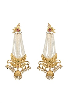 Gold Finish Dangler Earrings With Pearls by Anjali Jain