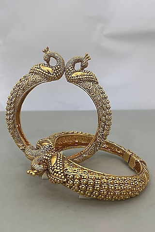 Gold Plated Peacock Bangles by Anjali Jain Jewellery