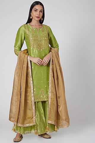 Green & Brown Embroidered Sharara Set by Anjali Jain