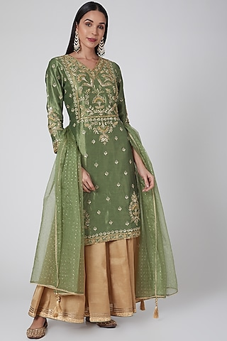 Olive Green & Gold Embroidered Lehenga Set by Anjali Jain