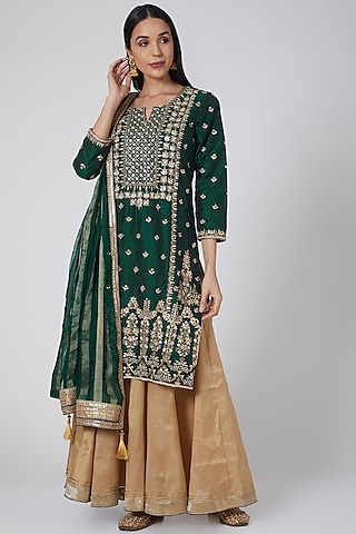 Green & Gold Embroidered Lehenga Set by Anjali Jain