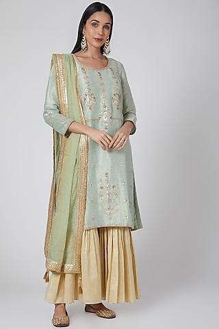 Powder Blue & Gold Embroidered Sharara Set by Anjali Jain