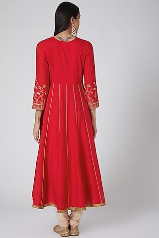 Red Embroidered Anarkali Set by Anjali Jain