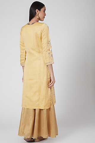 Yellow Zardosi Embroidered Lehenga Set by Anjali Jain
