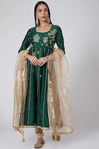 Emerald Green Embroidered Anarkali Set by Anjali Jain