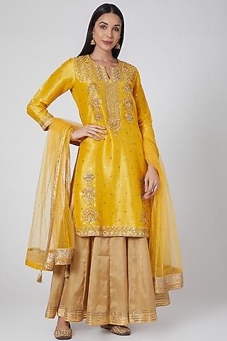 Yellow Embroidered Lehenga Set by Anjali Jain