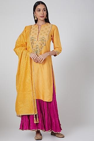 Yellow & Pink Embroidered Lehenga Set by Anjali Jain