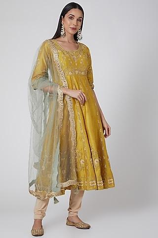 Mustard Embroidered Anarkali Set by Anjali Jain