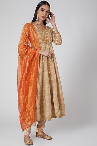 Beige & Orange Embroidered Anarkali Set by Anjali Jain