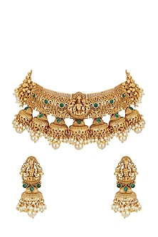 Gold Plated Kundan Necklace Set by Anjali Jain-JEWELLERY ON DISCOUNT