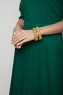 Gold Plated Red & Green Stone Bracelets by Anjali Jain