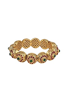 Gold Plated Carved Bracelets by Anjali Jain