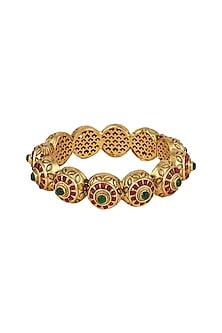 Gold Plated Carved Bracelets by Anjali Jain