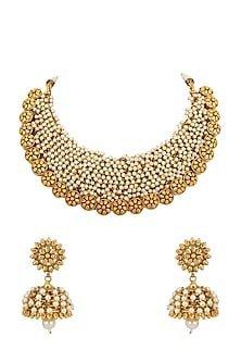Gold Plated Pearls Necklace Set by Anjali Jain-JEWELLERY ON DISCOUNT