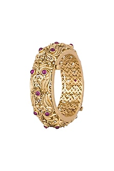 Gold Finish Onyx Stones Carved Bangles by Anjali Jain