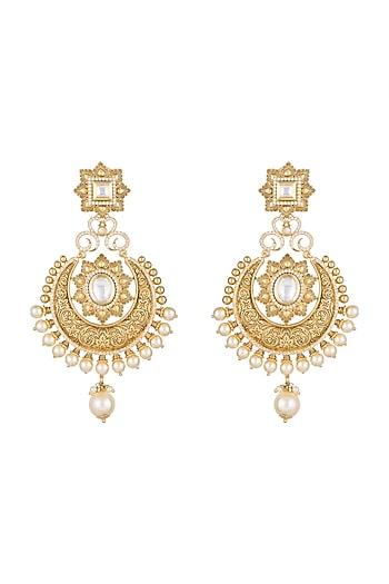 Gold Finish Pearls & Kundan Carved Chandbali Earrings by Anjali Jain