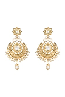 Gold Finish Pearls & Kundan Carved Chandbali Earrings by Anjali Jain-JEWELLERY ON DISCOUNT
