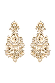 Gold Finish Pearls & Kundan Chandbali Earrings by Anjali Jain