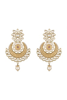 Gold Finish Kundan & Pearls Carved Chandbali Earrings by Anjali Jain