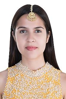 Gold Finish Kundan Pearl Maang Tikka by Anjali Jain