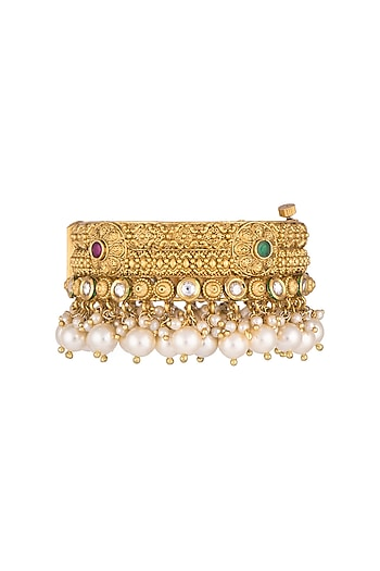 Gold Finish Onyx Stones & Pearls Bangles by Anjali Jain