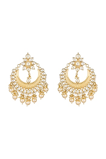 Gold Finish Pearls & Kundan Textured Chandbali Earrings by Anjali Jain