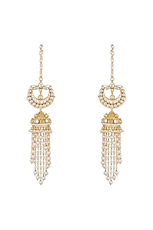Gold Finish Kundan & Pearls Tasseled Jhumka Earrings by Anjali Jain