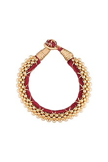 Gold Polish Gold Beads Roped Bangles by Anjali Jain