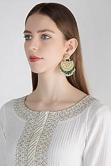 Gold Polish Kundan & Onyx Chandbali Earrings by Anjali Jain