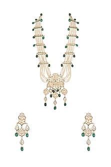 Gold Polish Layered Pendant Necklace Set by Anjali Jain