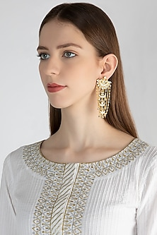 Gold Polish Kundan Tiered Dangler Earrings by Anjali Jain