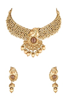 Gold Polish Ganesha Pendant Necklace Set by Anjali Jain