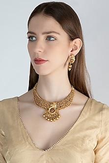 Gold Polish Ganesha Pendant Necklace Set by Anjali Jain
