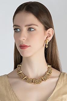 Gold Polish Ganesha Head Pieces Necklace Set by Anjali Jain